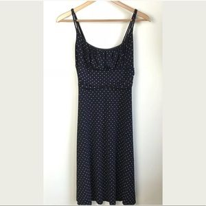 Empire Waist Dress Black Polka Dot Ruched Stretch
